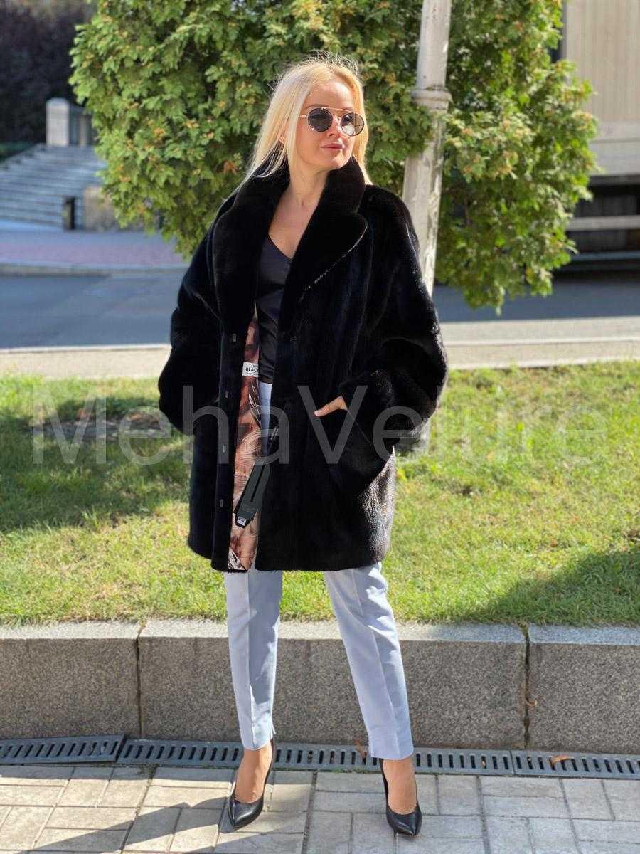 Норковая шуба из норки Blackglama, модель пиджак с накладными карманами
